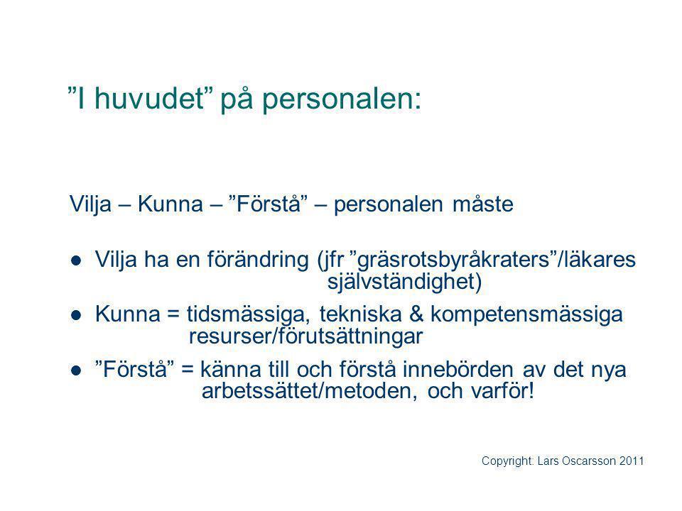 """""""I huvudet"""" på personalen: Vilja – Kunna – """"Förstå"""" – personalen måste Vilja ha en förändring (jfr """"gräsrotsbyråkraters""""/läkares självständighet) Kunn"""
