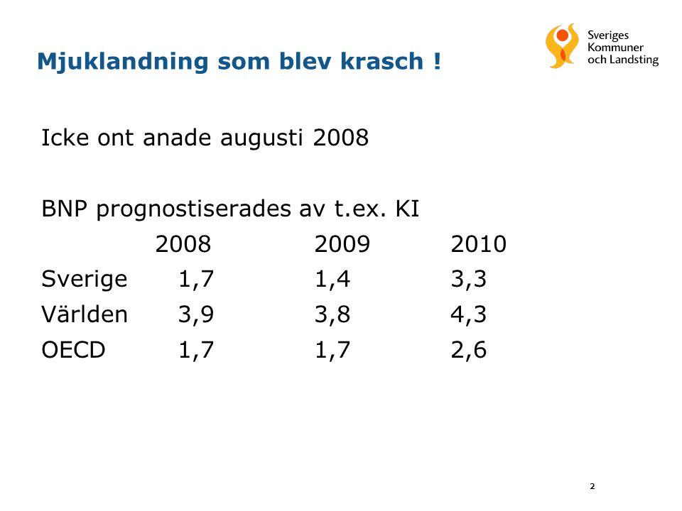 2 Mjuklandning som blev krasch . Icke ont anade augusti 2008 BNP prognostiserades av t.ex.