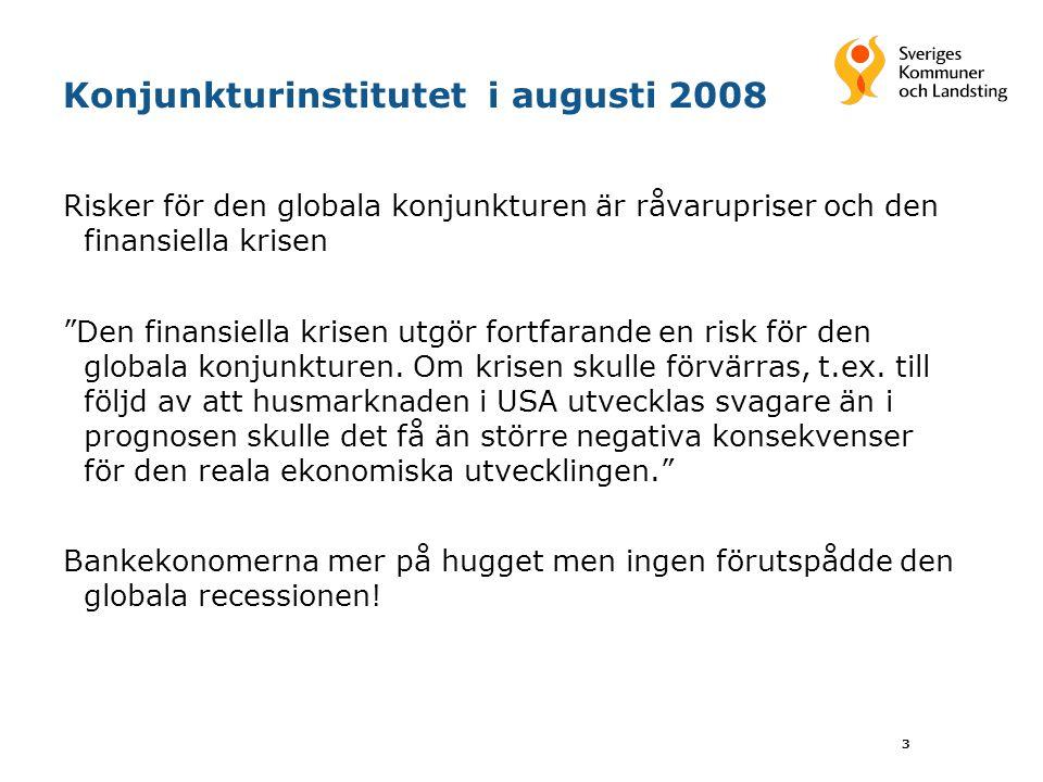 3 Konjunkturinstitutet i augusti 2008 Risker för den globala konjunkturen är råvarupriser och den finansiella krisen Den finansiella krisen utgör fortfarande en risk för den globala konjunkturen.