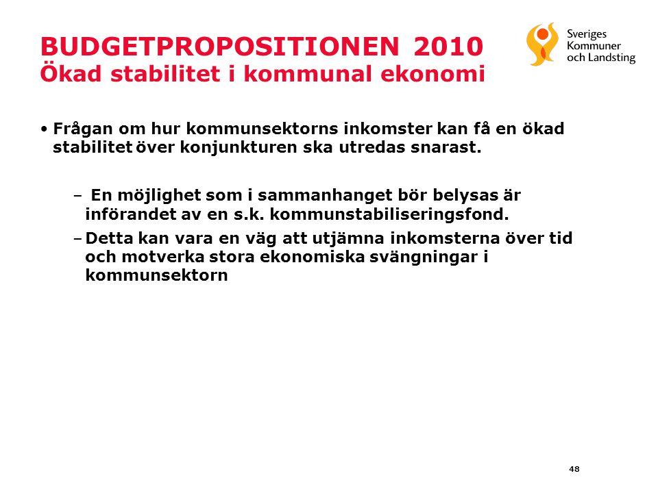 48 BUDGETPROPOSITIONEN 2010 Ökad stabilitet i kommunal ekonomi Frågan om hur kommunsektorns inkomster kan få en ökad stabilitet över konjunkturen ska utredas snarast.