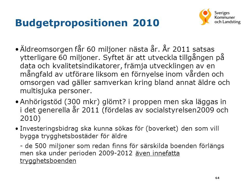 64 Budgetpropositionen 2010 Äldreomsorgen får 60 miljoner nästa år.