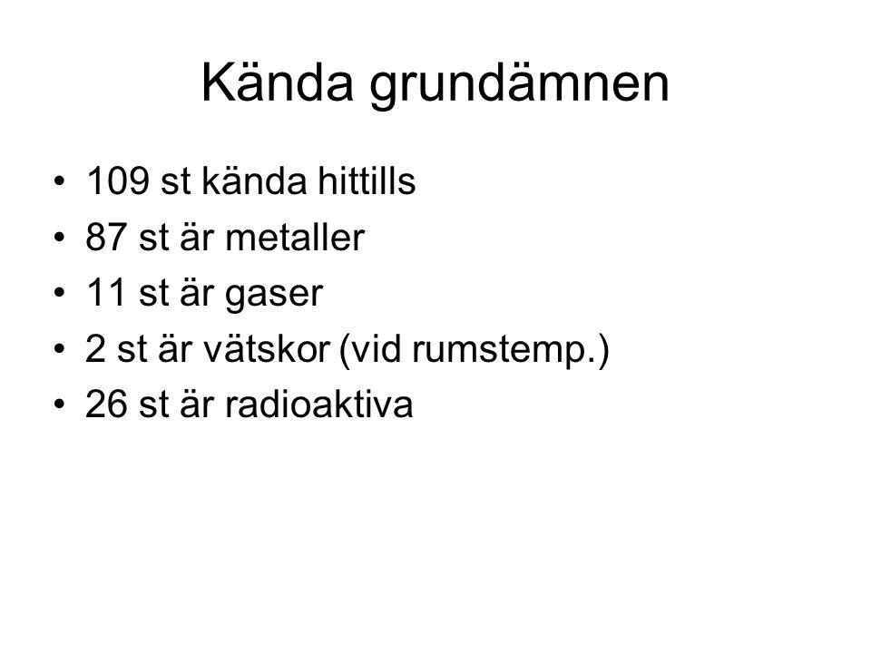Kända grundämnen 109 st kända hittills 87 st är metaller 11 st är gaser 2 st är vätskor (vid rumstemp.) 26 st är radioaktiva