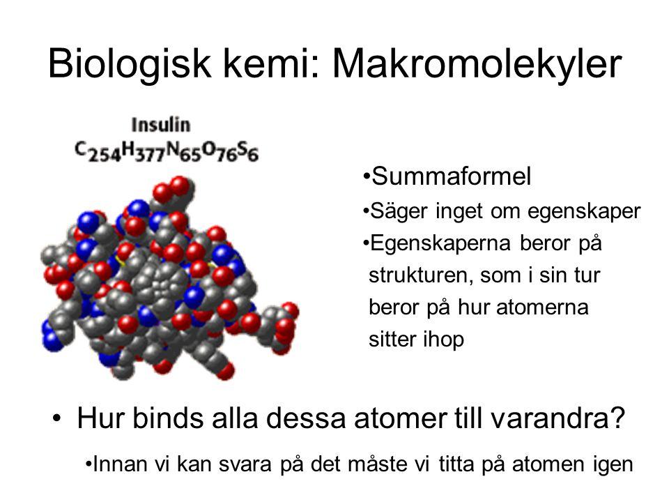 Biologisk kemi: Makromolekyler Hur binds alla dessa atomer till varandra? Innan vi kan svara på det måste vi titta på atomen igen Summaformel Säger in