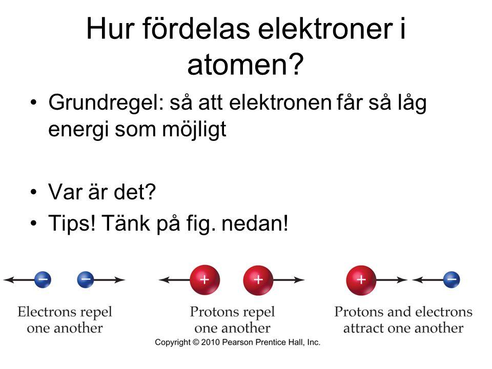 Hur fördelas elektroner i atomen? Grundregel: så att elektronen får så låg energi som möjligt Var är det? Tips! Tänk på fig. nedan!