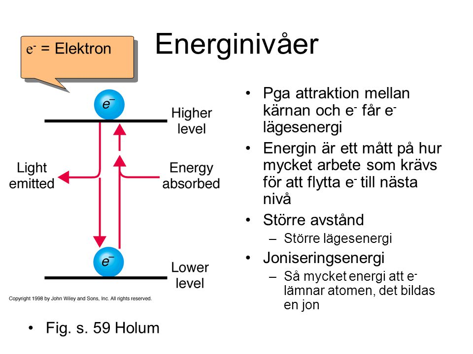Energinivåer Fig. s. 59 Pga attraktion mellan kärnan och e - får e - lägesenergi Energin är ett mått på hur mycket arbete som krävs för att flytta e -
