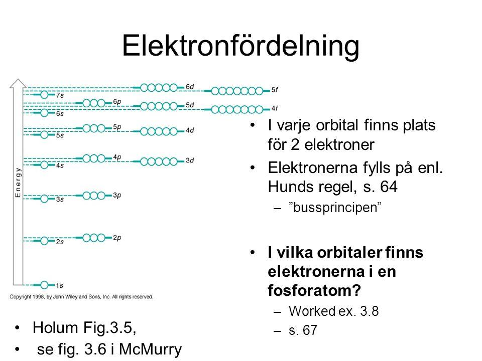 """Elektronfördelning I varje orbital finns plats för 2 elektroner Elektronerna fylls på enl. Hunds regel, s. 64 –""""bussprincipen"""" I vilka orbitaler finns"""
