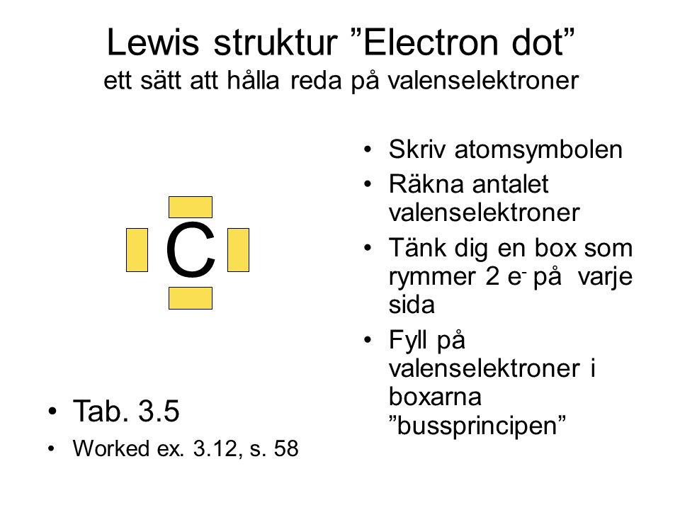 """Lewis struktur """"Electron dot"""" ett sätt att hålla reda på valenselektroner Skriv atomsymbolen Räkna antalet valenselektroner Tänk dig en box som rymmer"""