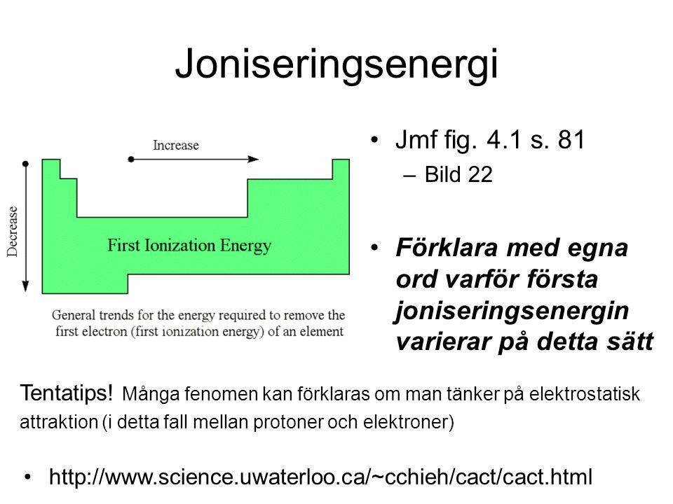 Joniseringsenergi Jmf fig. 4.1 s. 81 –Bild 22 Förklara med egna ord varför första joniseringsenergin varierar på detta sätt http://www.science.uwaterl