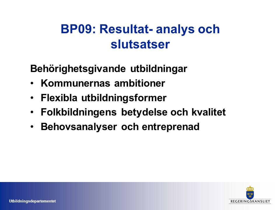 Utbildningsdepartementet BP09: Resultat- analys och slutsatser Behörighetsgivande utbildningar Kommunernas ambitioner Flexibla utbildningsformer Folkbildningens betydelse och kvalitet Behovsanalyser och entreprenad