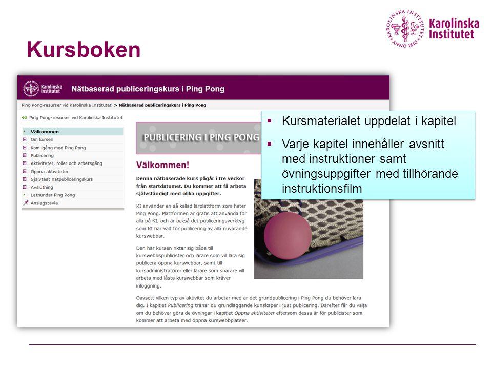 Kursboken  Kursmaterialet uppdelat i kapitel  Varje kapitel innehåller avsnitt med instruktioner samt övningsuppgifter med tillhörande instruktionsf