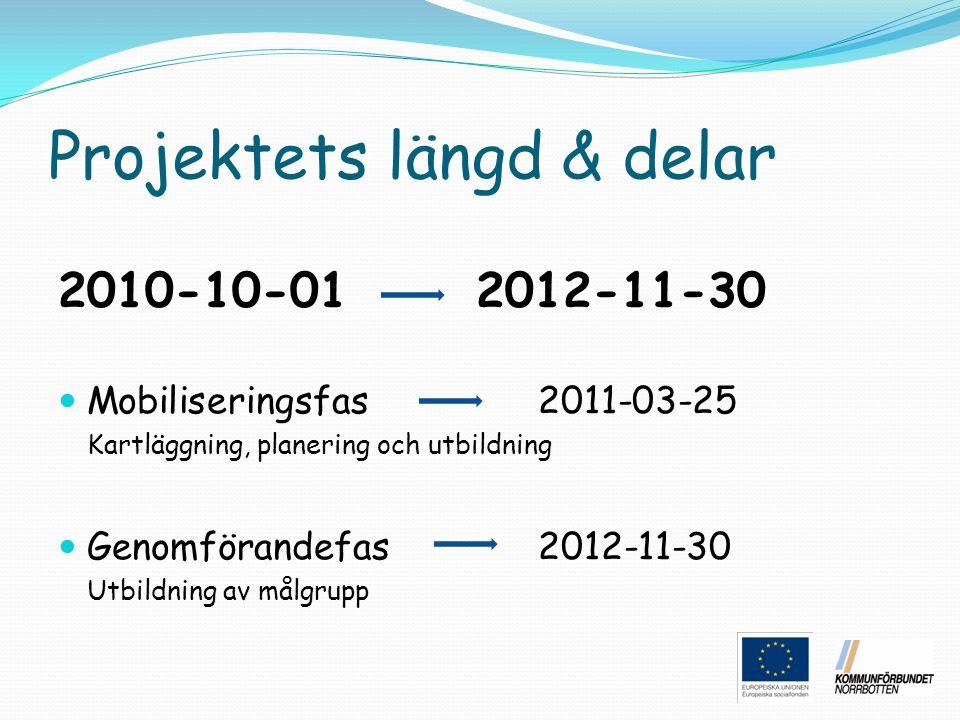 Projektets längd & delar 2010-10-01 2012-11-30 Mobiliseringsfas 2011-03-25 Kartläggning, planering och utbildning Genomförandefas 2012-11-30 Utbildnin