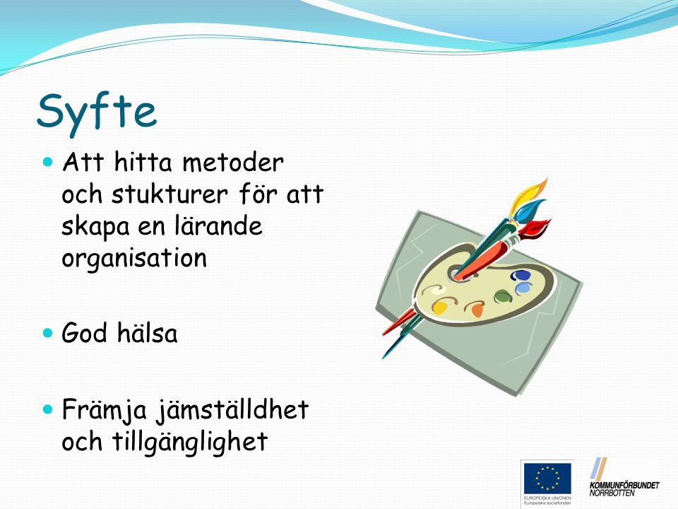 Syfte Att hitta metoder och stukturer för att skapa en lärande organisation God hälsa Främja jämställdhet och tillgänglighet