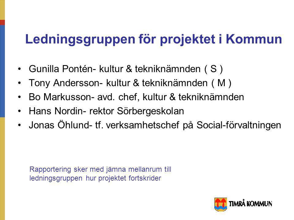 Representanter för projektgruppen Projektledare Polisen i Timrå Bergeforsparken Vuxenskolan ABF NBV Fritidsgården i Timrå Fritidsgården i Sörberge Tea