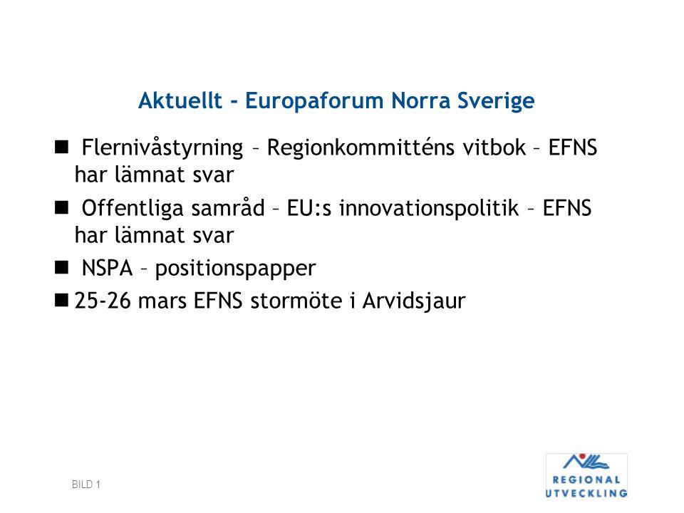 BILD 1 Aktuellt - Europaforum Norra Sverige Flernivåstyrning – Regionkommitténs vitbok – EFNS har lämnat svar Offentliga samråd – EU:s innovationspoli