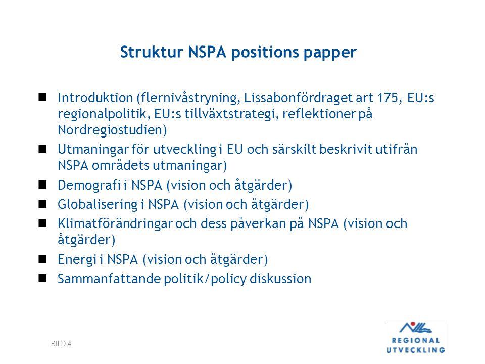 BILD 4 Struktur NSPA positions papper Introduktion (flernivåstryning, Lissabonfördraget art 175, EU:s regionalpolitik, EU:s tillväxtstrategi, reflekti
