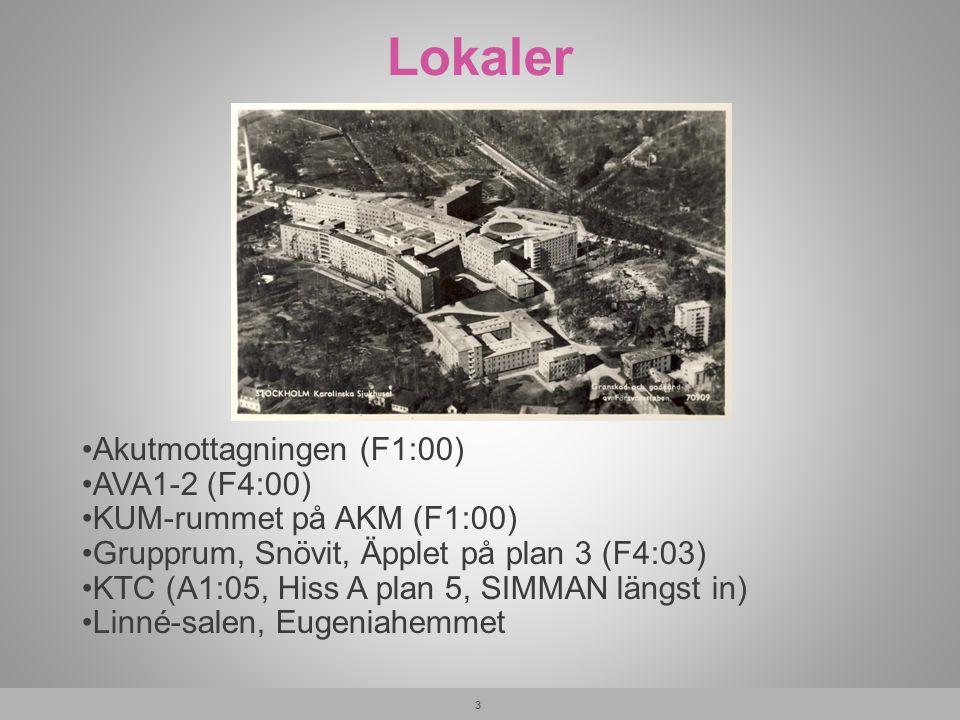 Lokaler 3 Akutmottagningen (F1:00) AVA1-2 (F4:00) KUM-rummet på AKM (F1:00) Grupprum, Snövit, Äpplet på plan 3 (F4:03) KTC (A1:05, Hiss A plan 5, SIMM