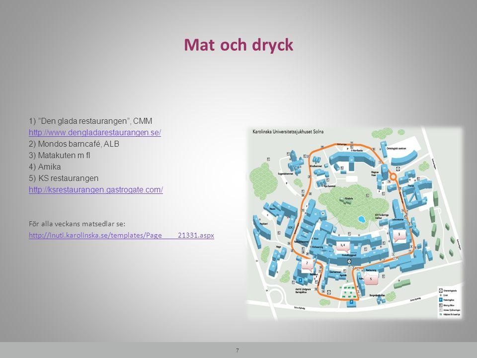 """Mat och dryck 7 1) """"Den glada restaurangen"""", CMM http://www.dengladarestaurangen.se/ 2) Mondos barncafé, ALB 3) Matakuten m fl 4) Amika 5) KS restaura"""