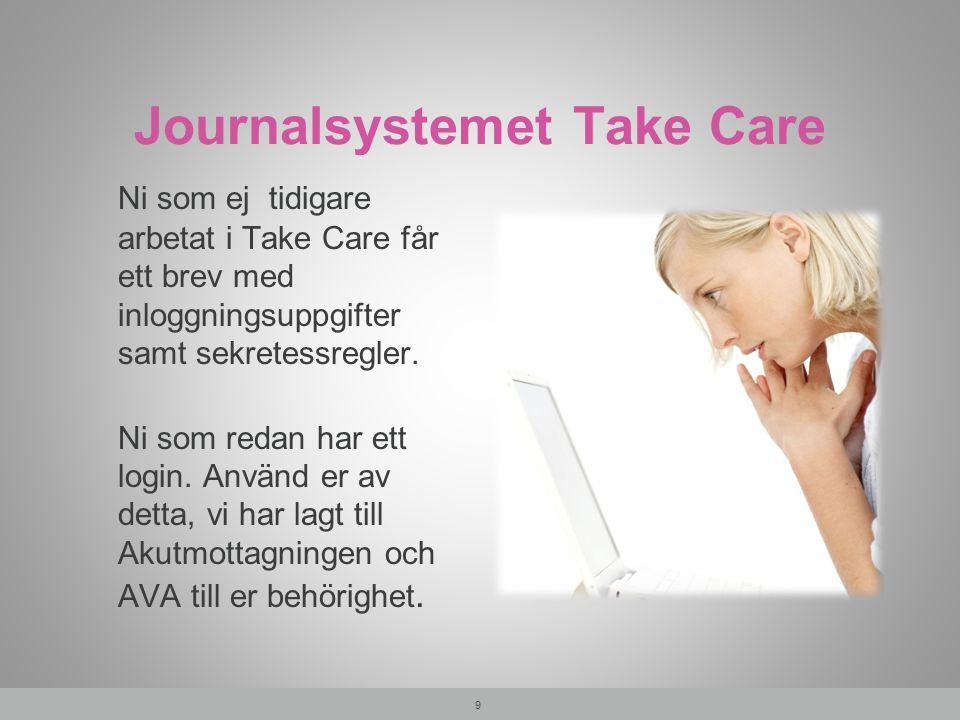 Journalsystemet Take Care Ni som ej tidigare arbetat i Take Care får ett brev med inloggningsuppgifter samt sekretessregler. Ni som redan har ett logi