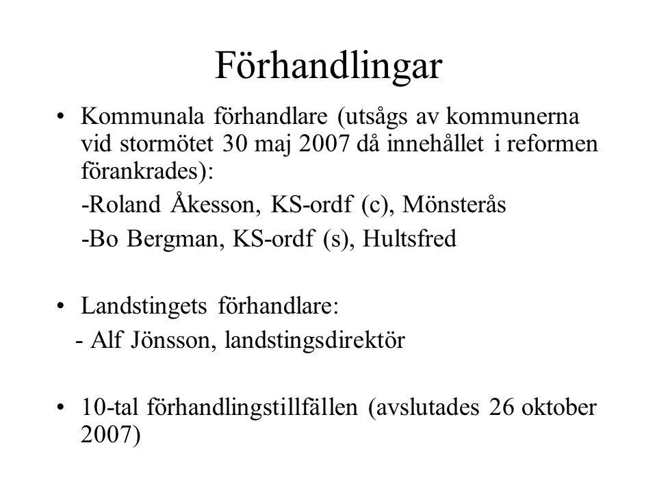 Förhandlingar Kommunala förhandlare (utsågs av kommunerna vid stormötet 30 maj 2007 då innehållet i reformen förankrades): -Roland Åkesson, KS-ordf (c), Mönsterås -Bo Bergman, KS-ordf (s), Hultsfred Landstingets förhandlare: - Alf Jönsson, landstingsdirektör 10-tal förhandlingstillfällen (avslutades 26 oktober 2007)