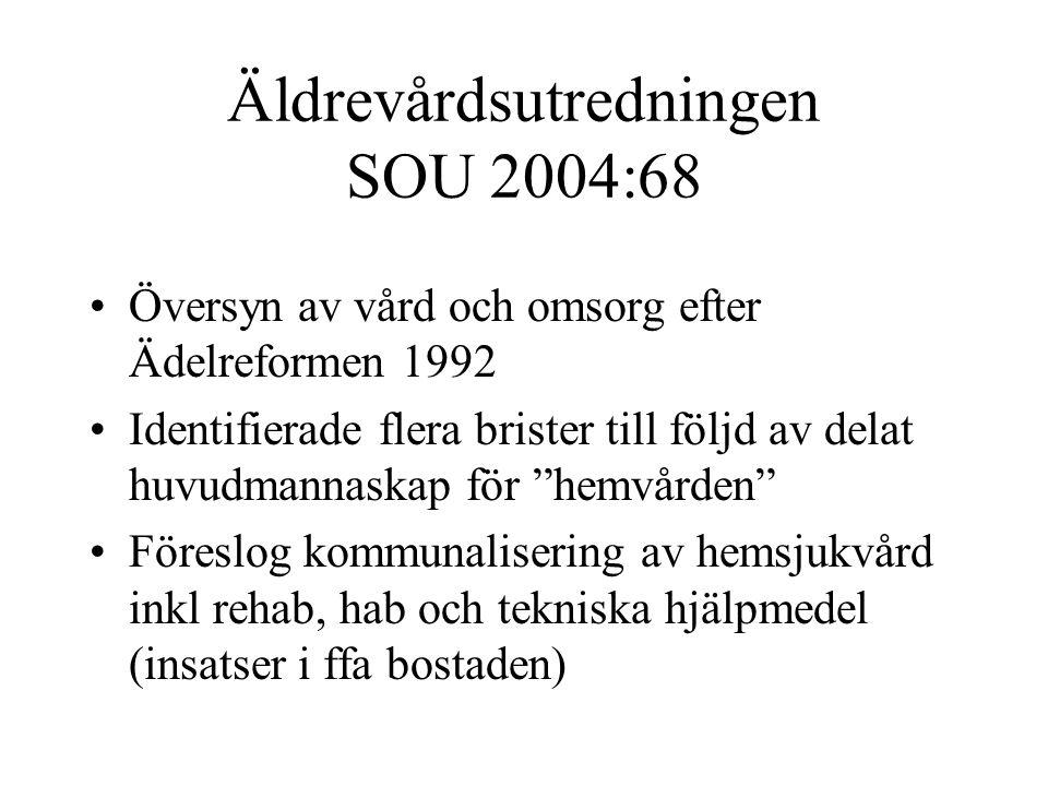 Äldrevårdsutredningen SOU 2004:68 Översyn av vård och omsorg efter Ädelreformen 1992 Identifierade flera brister till följd av delat huvudmannaskap för hemvården Föreslog kommunalisering av hemsjukvård inkl rehab, hab och tekniska hjälpmedel (insatser i ffa bostaden)