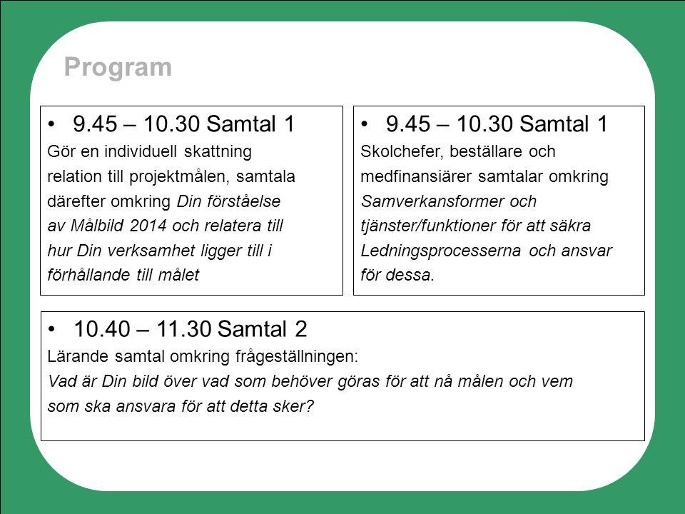 Program 10.40 – 11.30 Samtal 2 Lärande samtal omkring frågeställningen: Vad är Din bild över vad som behöver göras för att nå målen och vem som ska an