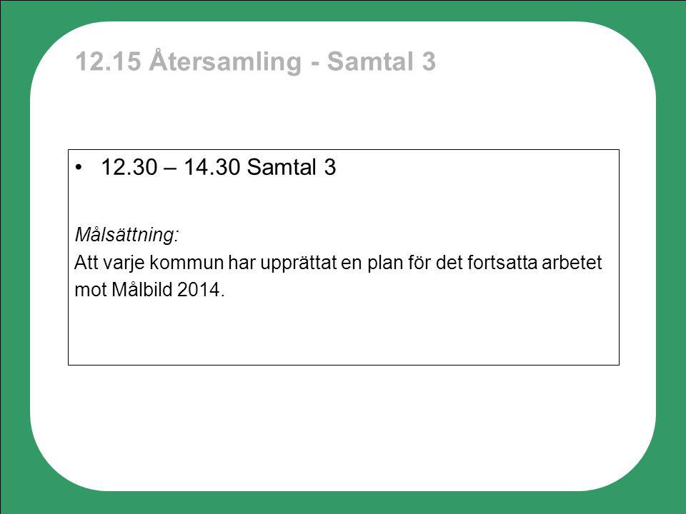 12.15 Återsamling - Samtal 3 12.30 – 14.30 Samtal 3 Målsättning: Att varje kommun har upprättat en plan för det fortsatta arbetet mot Målbild 2014.
