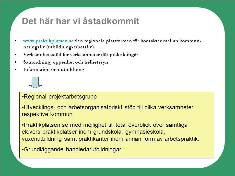 Det här har vi åstadkommit www.praktikplatsen.se den regionala plattformen för kontakter mellan kommun- näringsliv (utbildning-arbetsliv).www.praktikp