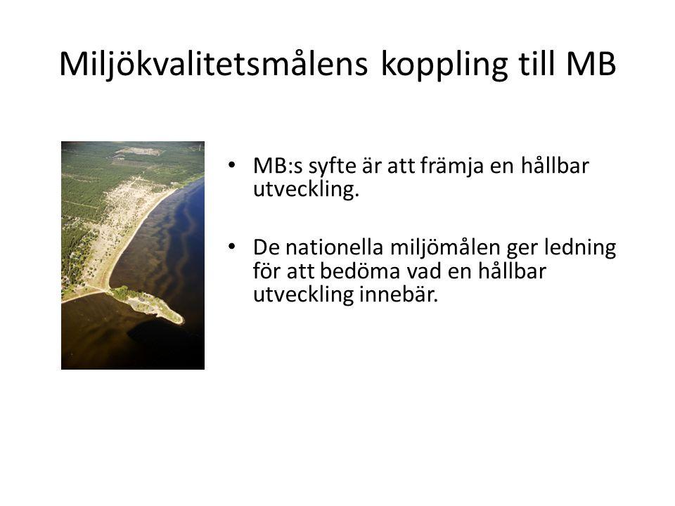Miljökvalitetsmålens koppling till MB MB:s syfte är att främja en hållbar utveckling.