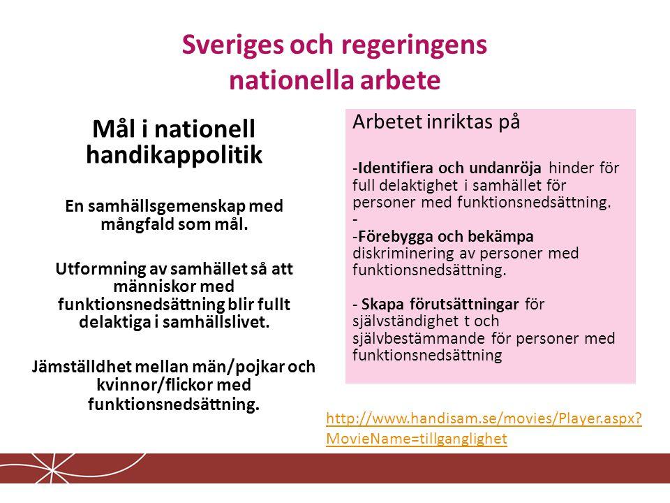 Sveriges och regeringens nationella arbete Mål i nationell handikappolitik En samhällsgemenskap med mångfald som mål.