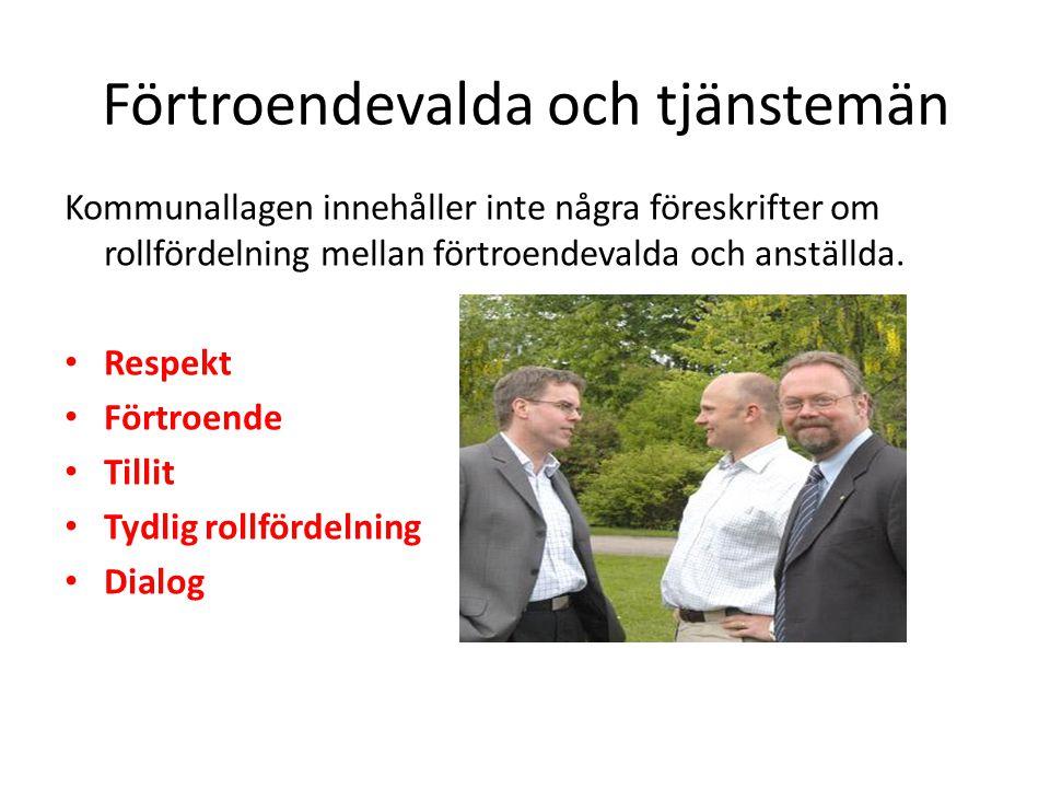 Förtroendevalda och tjänstemän Kommunallagen innehåller inte några föreskrifter om rollfördelning mellan förtroendevalda och anställda.