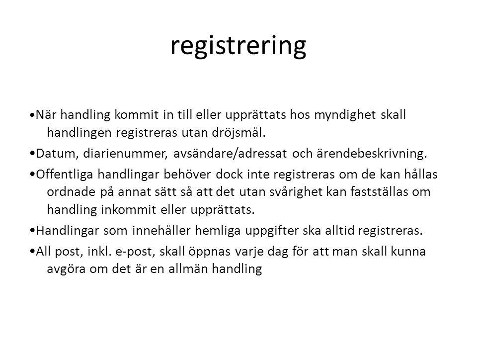 registrering När handling kommit in till eller upprättats hos myndighet skall handlingen registreras utan dröjsmål.