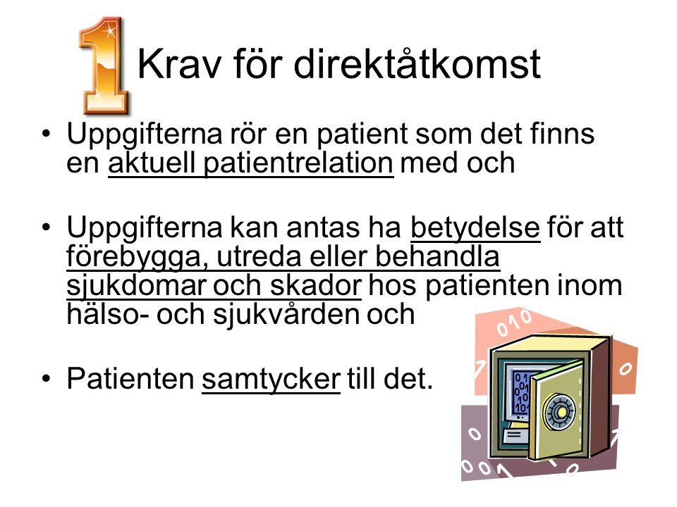 Krav för direktåtkomst Uppgifterna rör en patient som det finns en aktuell patientrelation med och Uppgifterna kan antas ha betydelse för att förebygg