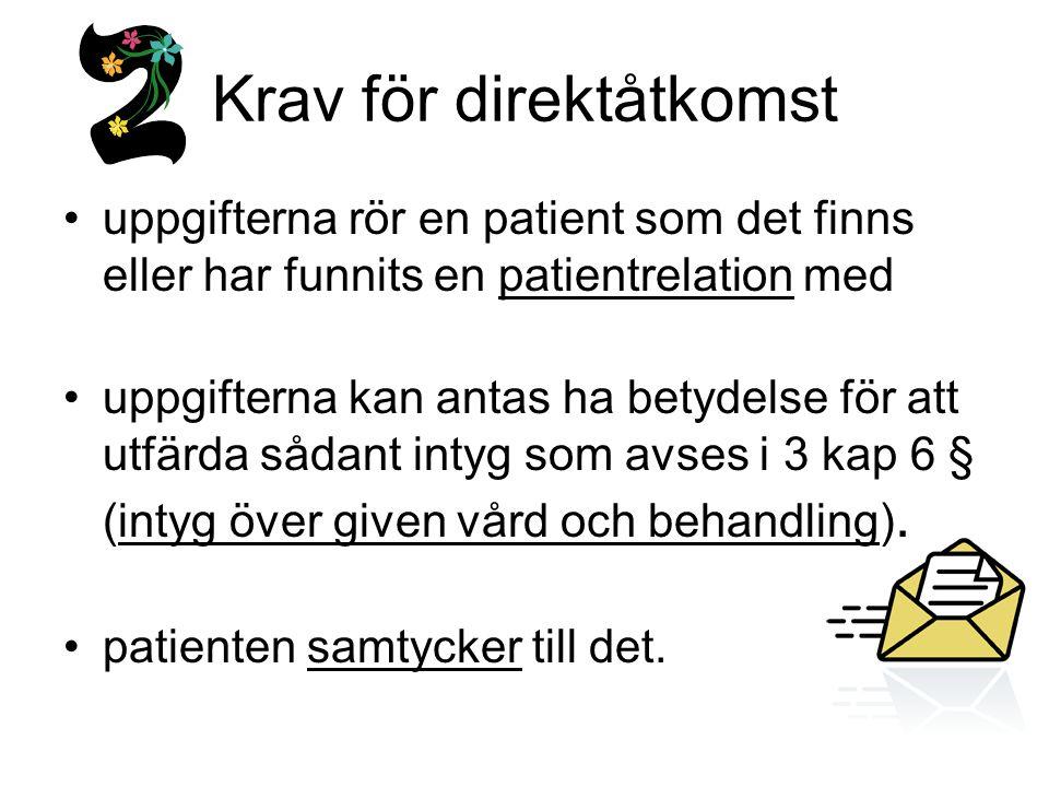 Krav för direktåtkomst uppgifterna rör en patient som det finns eller har funnits en patientrelation med uppgifterna kan antas ha betydelse för att ut