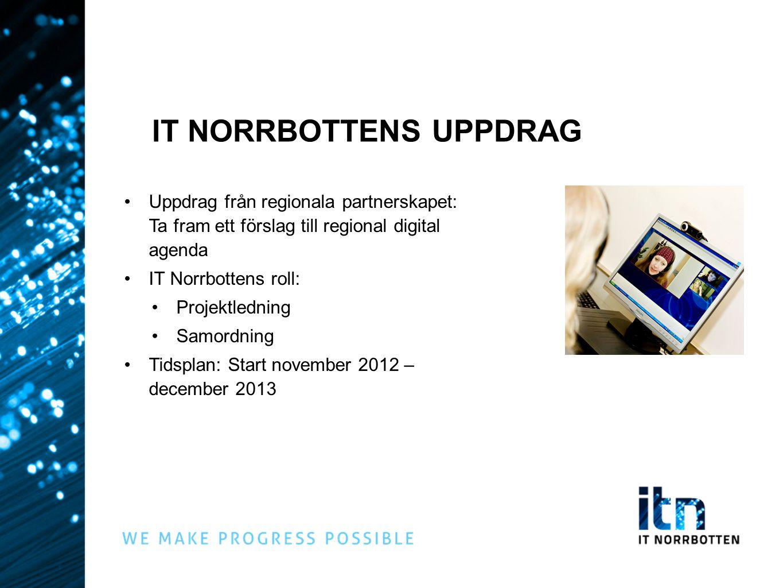 IT NORRBOTTENS UPPDRAG Uppdrag från regionala partnerskapet: Ta fram ett förslag till regional digital agenda IT Norrbottens roll: Projektledning Samo
