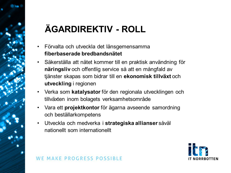 ÄGARDIREKTIV - ROLL Förvalta och utveckla det länsgemensamma fiberbaserade bredbandsnätet Säkerställa att nätet kommer till en praktisk användning för
