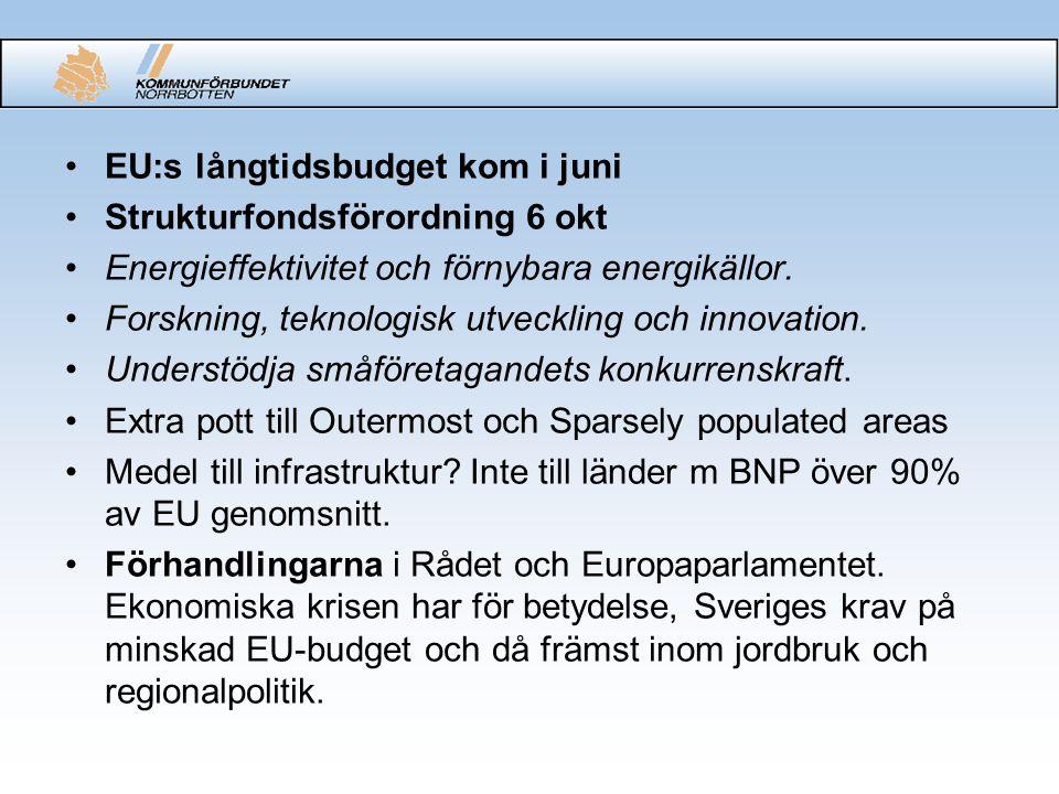 EU:s långtidsbudget kom i juni Strukturfondsförordning 6 okt Energieffektivitet och förnybara energikällor.