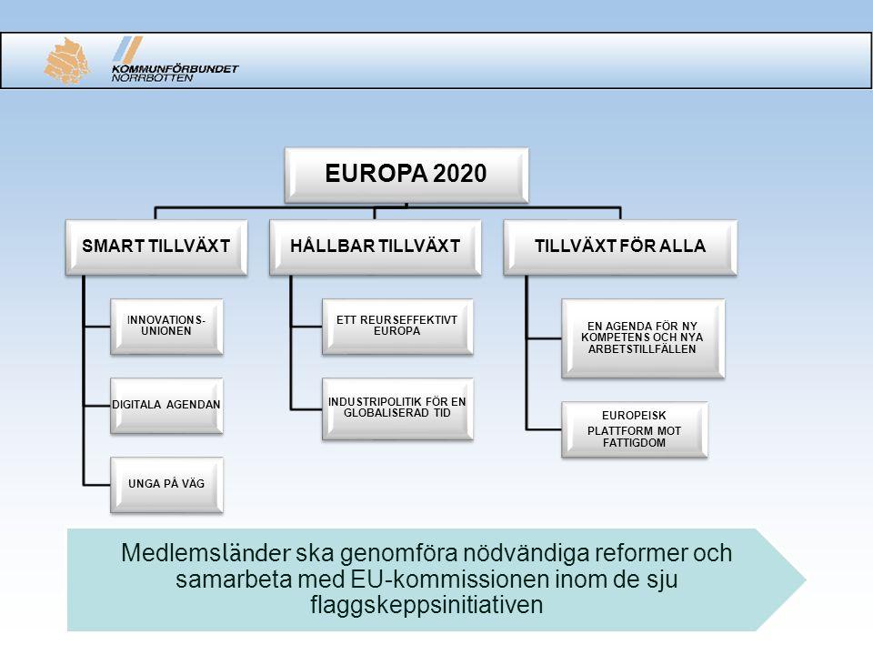 EUROPA 2020 SMART TILLVÄXT INNOVATIONS- UNIONEN DIGITALA AGENDAN UNGA PÅ VÄG HÅLLBAR TILLVÄXT ETT REURSEFFEKTIVT EUROPA INDUSTRIPOLITIK FÖR EN GLOBALISERAD TID TILLVÄXT FÖR ALLA EN AGENDA FÖR NY KOMPETENS OCH NYA ARBETSTILLFÄLLEN EUROPEISK PLATTFORM MOT FATTIGDOM Medlems länder ska genomföra nödvändiga reformer och samarbeta med EU-kommissionen inom de sju flaggskeppsinitiativen