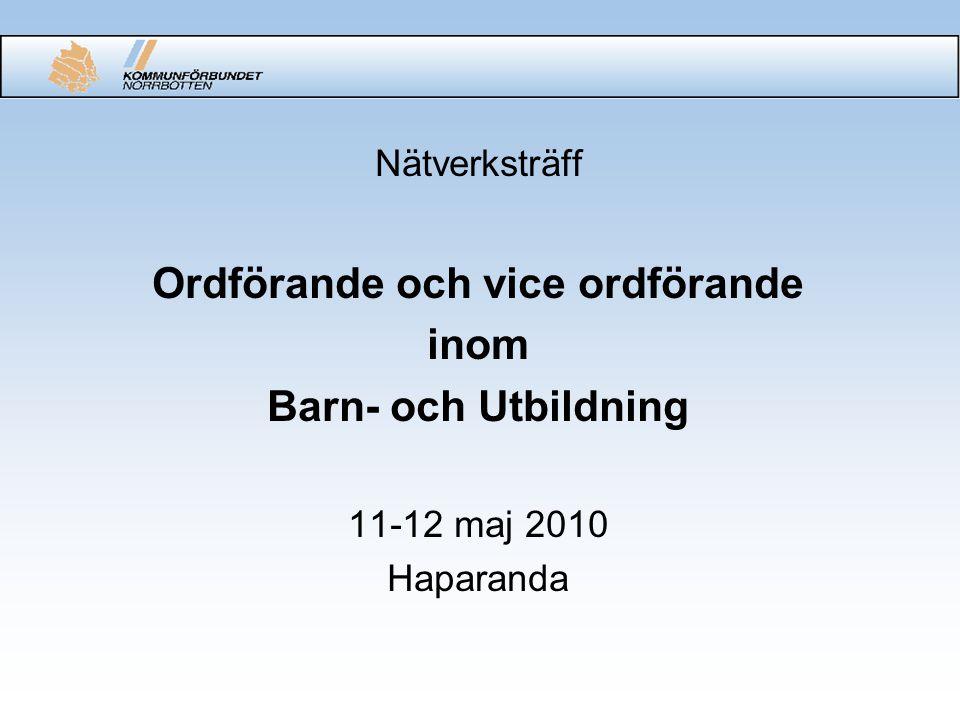 Nätverksträff Ordförande och vice ordförande inom Barn- och Utbildning 11-12 maj 2010 Haparanda