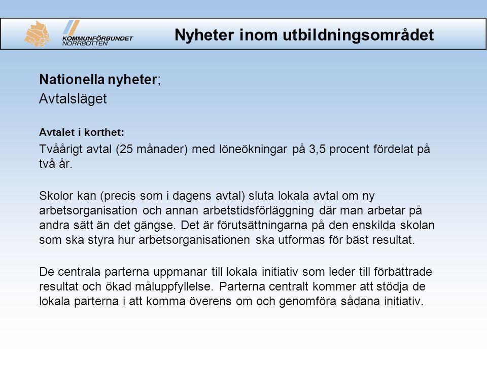Nyheter inom utbildningsområdet Nationella nyheter; Öppna jämförelser Finns för grundskola och gymnasieskola.