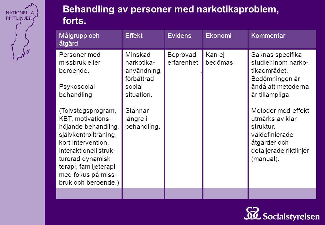 Målgrupp och åtgärd EffektEvidensEkonomiKommentar Personer med missbruk eller beroende. Psykosocial behandling (Tolvstegsprogram, KBT, motivations- hö