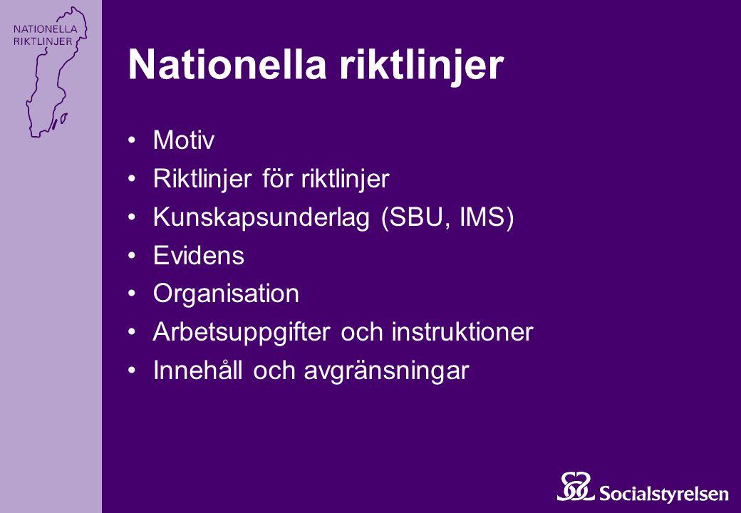 Nationella riktlinjer Motiv Riktlinjer för riktlinjer Kunskapsunderlag (SBU, IMS) Evidens Organisation Arbetsuppgifter och instruktioner Innehåll och