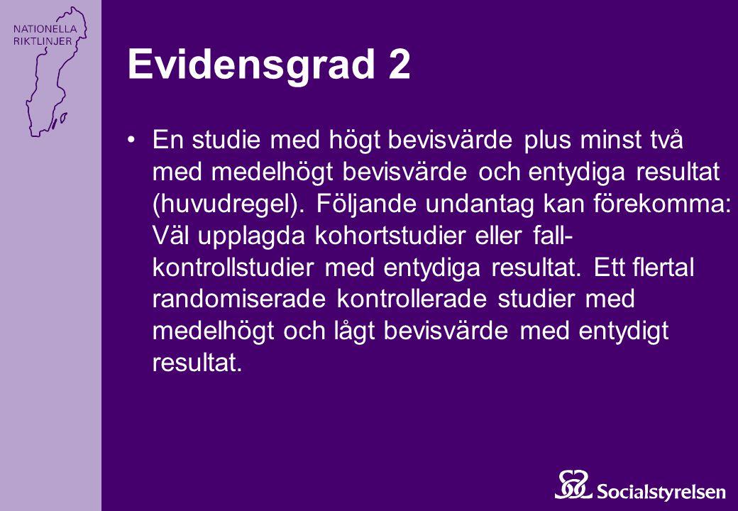 En studie med högt bevisvärde plus minst två med medelhögt bevisvärde och entydiga resultat (huvudregel). Följande undantag kan förekomma: Väl upplagd