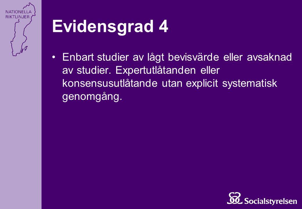 Enbart studier av lågt bevisvärde eller avsaknad av studier. Expertutlåtanden eller konsensusutlåtande utan explicit systematisk genomgång. Evidensgra
