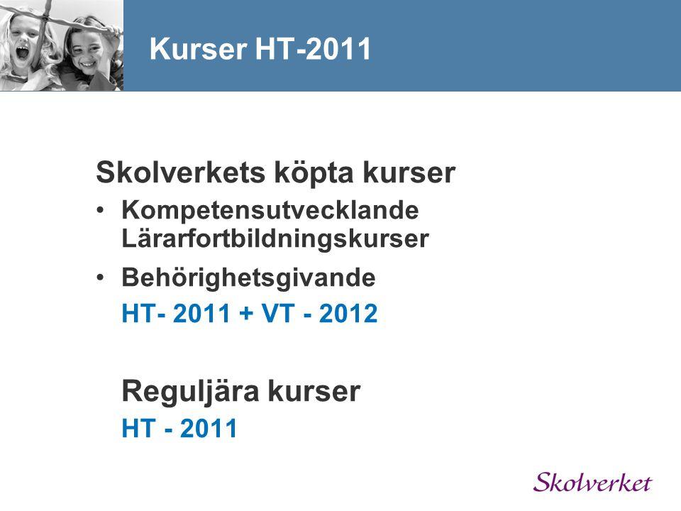 Skolverkets köpta kurser Kompetensutvecklande Lärarfortbildningskurser Behörighetsgivande HT- 2011 + VT - 2012 Reguljära kurser HT - 2011 Kurser HT-20