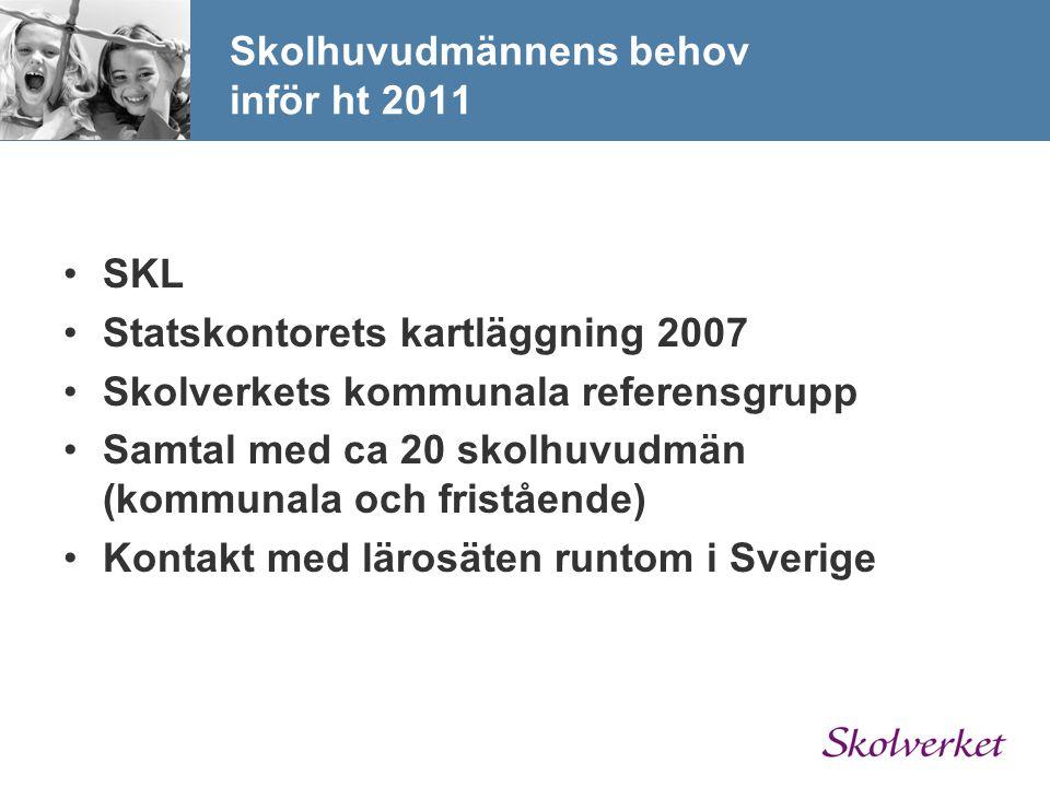 Skolhuvudmännens behov inför ht 2011 SKL Statskontorets kartläggning 2007 Skolverkets kommunala referensgrupp Samtal med ca 20 skolhuvudmän (kommunala