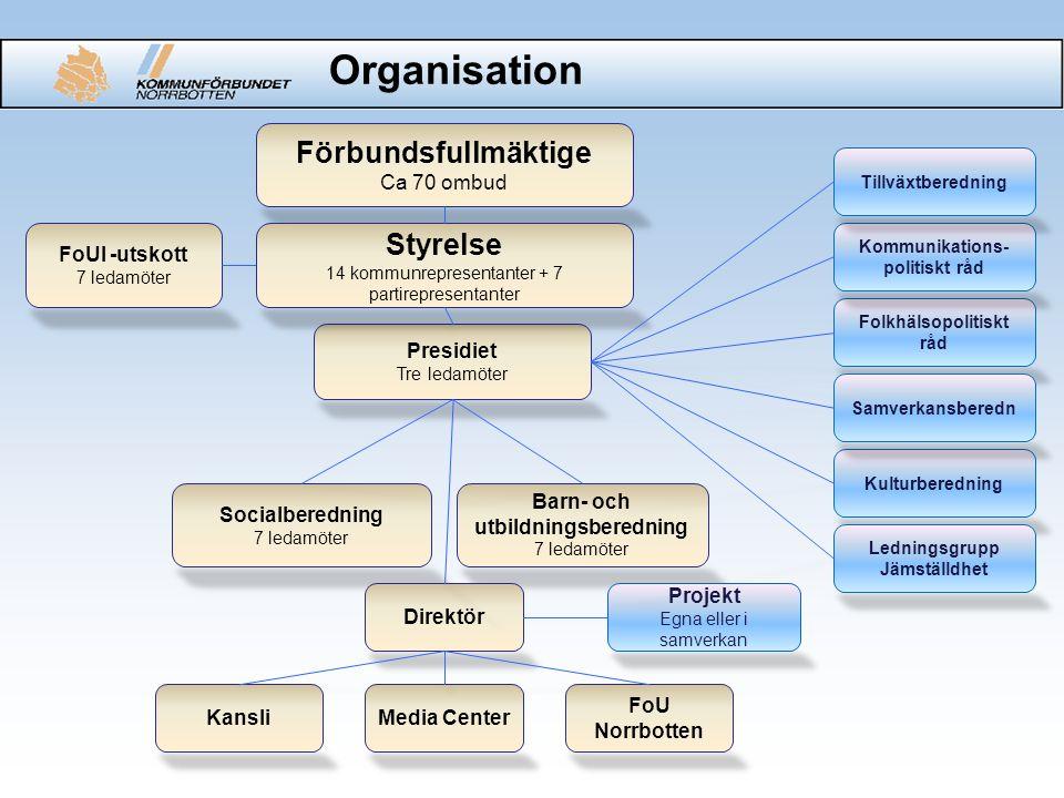 Socialberedning 7 ledamöter Kansli Folkhälsopolitiskt råd Kommunikations- politiskt råd FoU Norrbotten Kulturberedning Barn- och utbildningsberedning