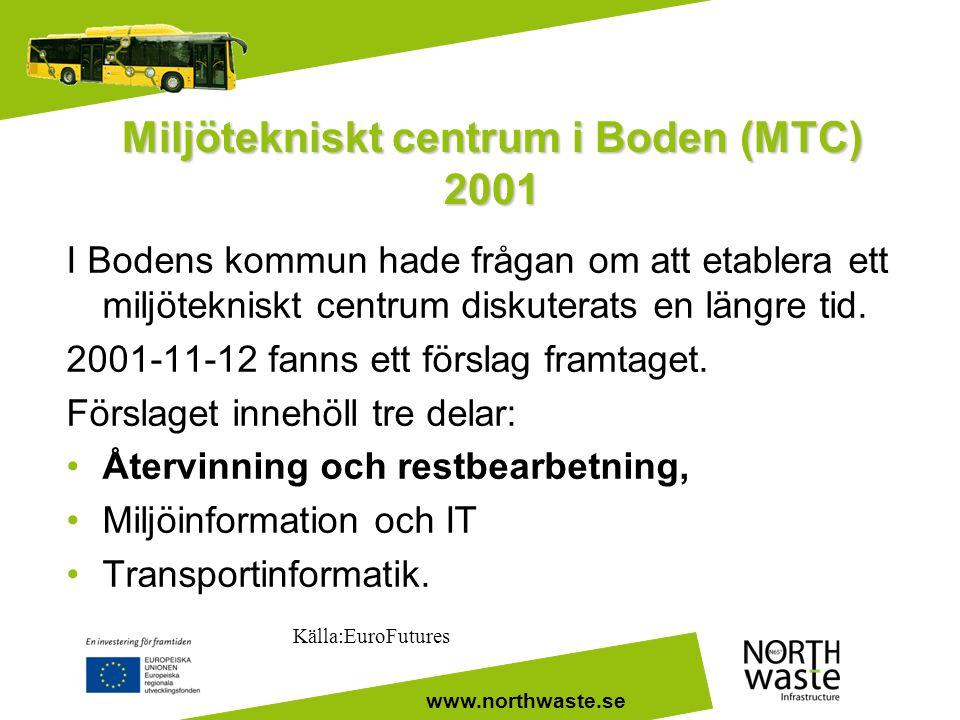www.northwaste.se Miljötekniskt centrum i Boden (MTC) 2001 I Bodens kommun hade frågan om att etablera ett miljötekniskt centrum diskuterats en längre