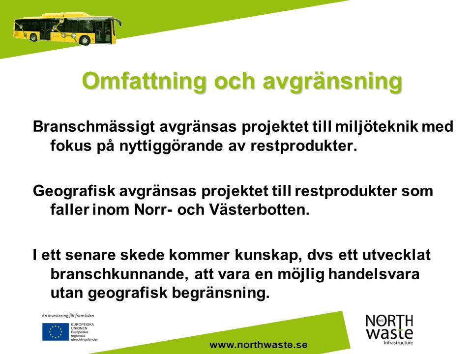 www.northwaste.se Omfattning och avgränsning Branschmässigt avgränsas projektet till miljöteknik med fokus på nyttiggörande av restprodukter. Geografi