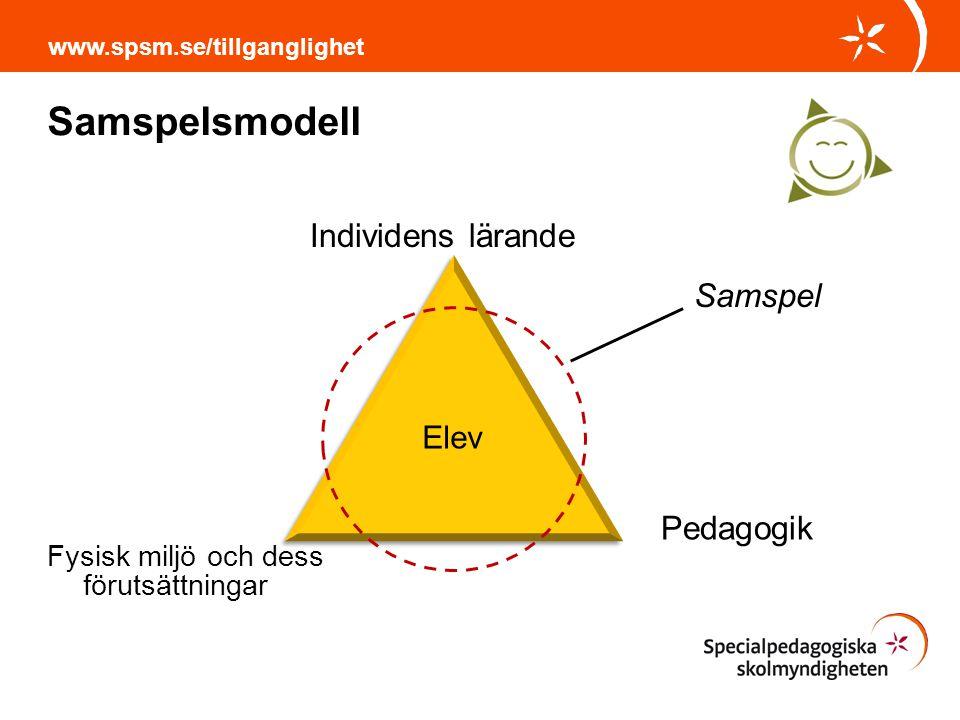 Samspelsmodell www.spsm.se/tillganglighet Därför att: En möjlighet till att arbeta för en tillgänglig utbildning för alla Helhetsperspektiv Olika nivåer: organisations nivå grupp nivå individ nivå Del av systematiskt arbetsmiljöarbete Användas som checklista