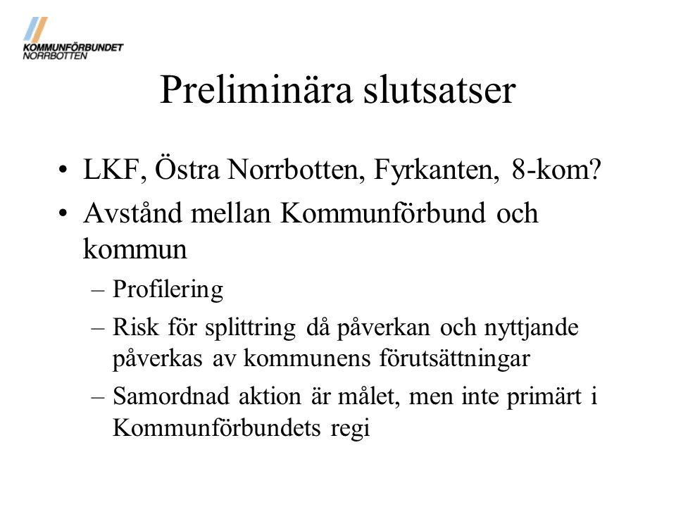 Preliminära slutsatser LKF, Östra Norrbotten, Fyrkanten, 8-kom? Avstånd mellan Kommunförbund och kommun –Profilering –Risk för splittring då påverkan